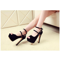 New Sexy Peep Toe Thin Heels Women Pumps Suede Platform Ankle Strap Pumps Wedding Party Shoes