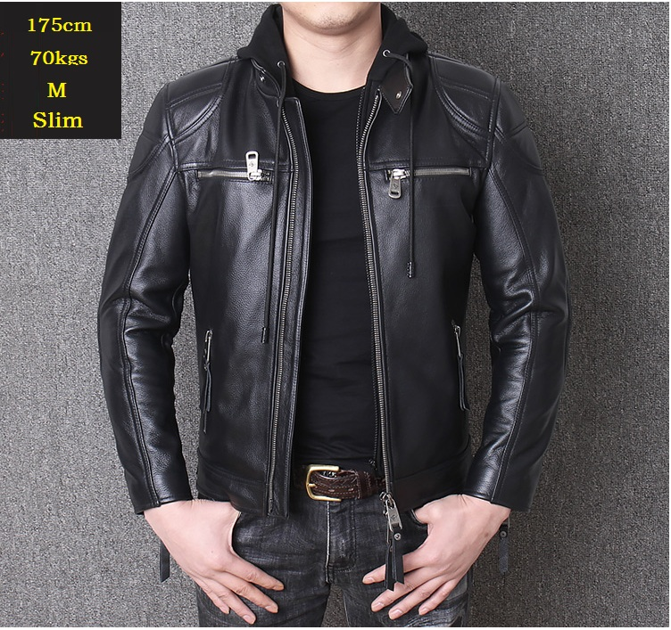 YR!Free Shipping.motor Biker Genuine Leather Jacket.New Winter Black Cowhide Coat.plus Size  Warm Leather Jackets,sales