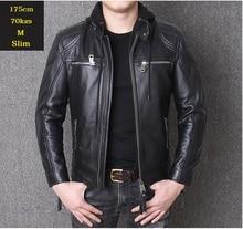 YR!Free shipping.motor biker genuine leather jacket.New winter black cowhide coat.plus size  warm leather jackets,sales