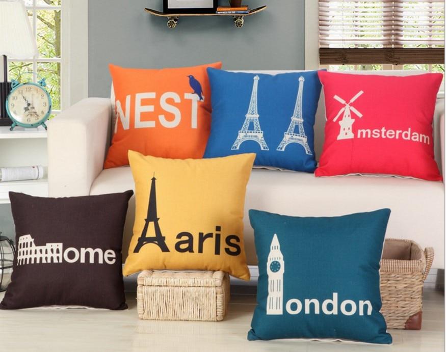 Linen Cotton Cushion Cover 45X45cm Amsterdam Rome London Paris Print Pillow Cases For Home Decor Bedroom Sofa Decoration B287