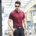 2016 Verão Camisa Listrada Homens Camisa Dos Homens Vestido de Moda Camisa de Manga Curta Slim Fit Ocasional