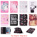 For Apple iPad 6 iPad6 Case Cute Cartoon Dog Love Skull Pattern Folio PU Leather Protector Back Cover For iPad Air 2 Air2 9.7''