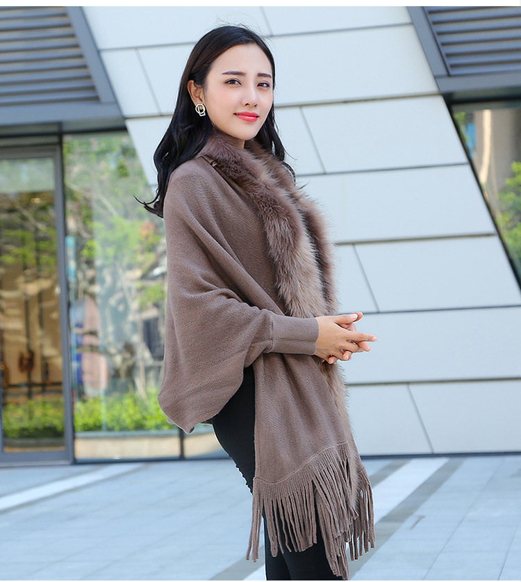 Faux Fur Collar Shawl Cardigan Tassel Winter Warm Coat 18