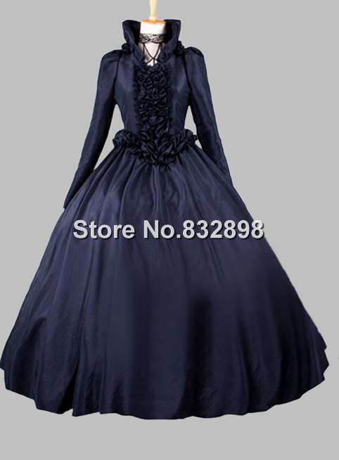 Gothic Black Victorian Era Dress Stage Costume with Cloak
