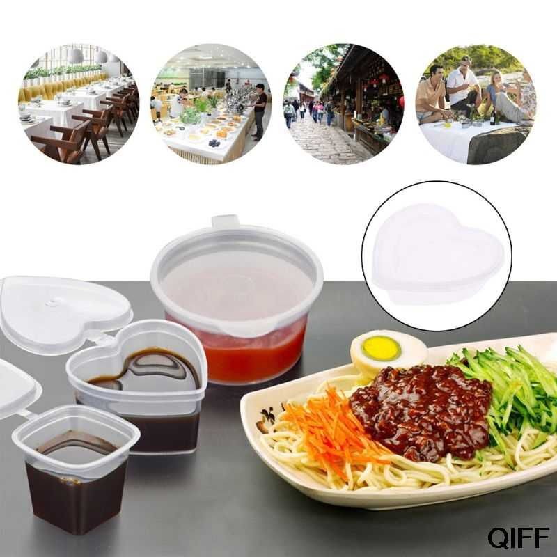 Drop ship&Wholesale Heart Shape Clear Plastic Sauce Chutney Cups Food Container Slime Storage Box Case With Lid 120ml May06