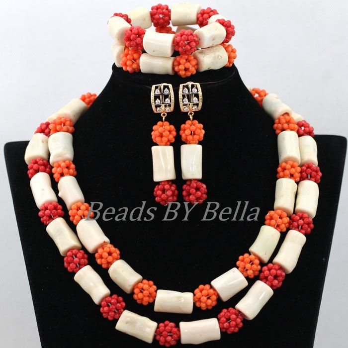 New Arrival African Wedding Beads Necklace White Coral Nigerian Bridal Jewelry Sets Red Coral Balls Jewelry Free Shipping ABK080New Arrival African Wedding Beads Necklace White Coral Nigerian Bridal Jewelry Sets Red Coral Balls Jewelry Free Shipping ABK080