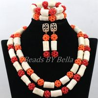 New Arrival African Wedding Beads Necklace White Coral Nigerian Bridal Jewelry Sets Red Coral Balls Jewelry