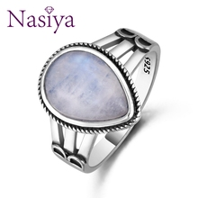 New Design Punk Moonstone Ring For Women 925 Silver Fine Jewelry Party Anniversary Wedding  Engagement Birthday Gift top brand vintage ring for women 925 sterling silver jewelry high quality moonstone party anniversary wedding engagement gift