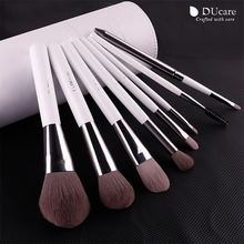 DUcare 8pcs Cosmetics brush Set professional  Make up Brushes top Synthetic Hair Natural wood Handle With White Cylinder
