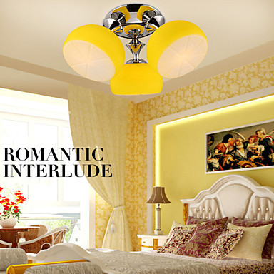 Free Shipping Flush Mount LED 3 Lights Contracted Contemporary /Bedroom/Dining Room/Kids Room Metal with Lemon Appearance