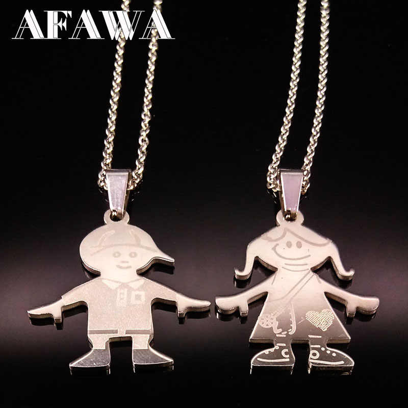 e1075b64b Stainless Steel Boy Girl Necklaces Silver Color Chain Love Family Choker Necklace  Jewelry Women Gifts acero
