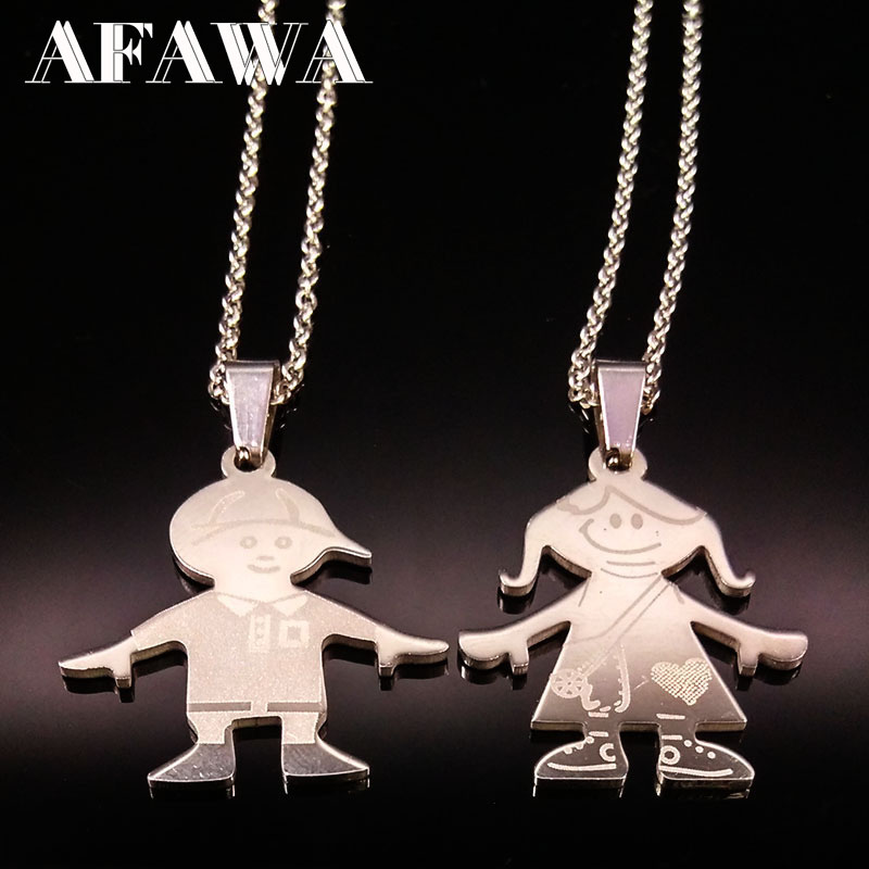 Stainless Steel Boy Girl Necklaces Silver Color Chain Love Family Choker