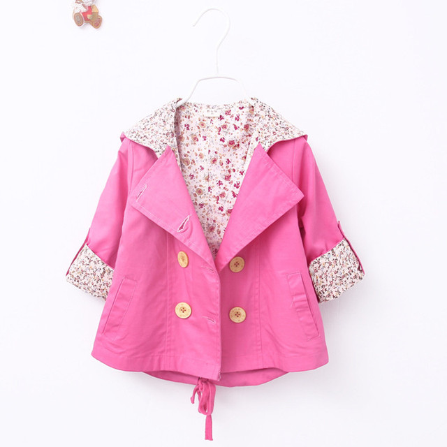 3 Colors 2016 New Girls Spring Jacket Coat European Style Trench Coat Children Outerwear Coats Baby Girls Jackets For 1-4Y