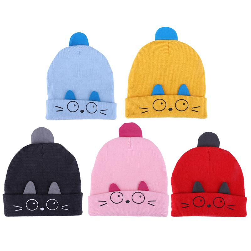 Cute Emoji Baby Winter Hat Warm Infant Beanie Cap For Children Boys Girls Animal Cat Ear Kids Girls Crochet Knitted Hats