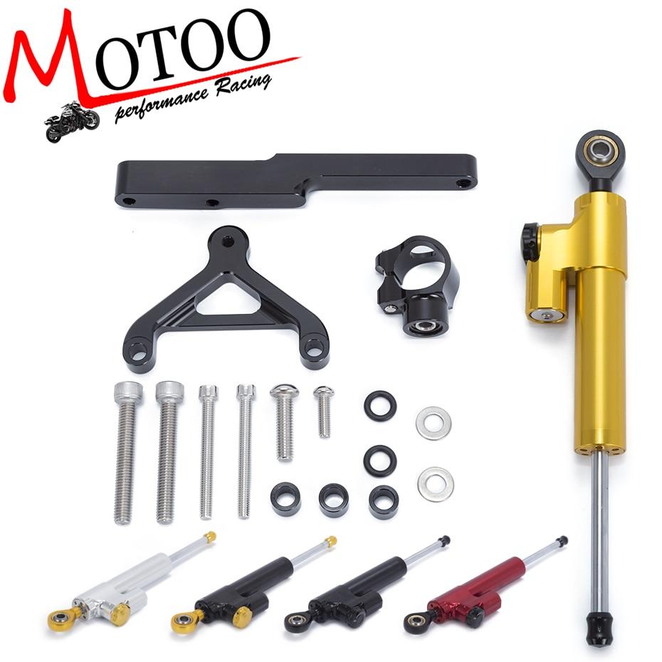 Motoo Motorcycle Full set CNC Steering Damper Stabilizerlinear Linear Stabilizer Bracket kit For HONDA CB1000R 2008