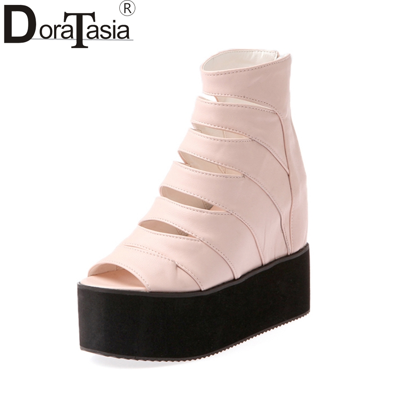 DoraTasia 2018 Summer cut outs large size 32-42 gladiator Sandals Platform Casual Shoes Woman Wedges high heels Women Shoes phyanic 2017 gladiator sandals gold silver shoes woman summer platform wedges glitters creepers casual women shoes phy3323