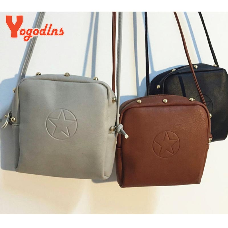 2017 fashion PU leather women messenger bags women leather shoulder bags elegant ladies handbag star rivet mini bags FF9715