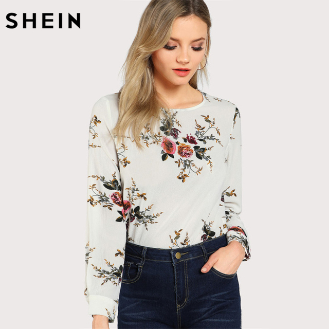 36c3537327d1b2 SHEIN Flower Print Keyhole Back Curve Hem Casual Blouse Fall 2017 Fashion Multicolor  Long Sleeve Women's Floral Autumn Blouse