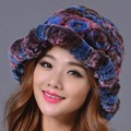 2016 Nova Rex Rabbit Fur Hat Mulheres Inverno Quente Ocasional Elegante Chapéu Gorros Cor Genuínos Tampas Tampas de Moda Feminina