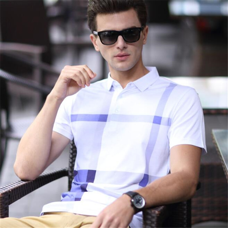 100p Business Men Lapel Collar Tops&Tees High-end Cotton Wicking Anti-UV Short Sleeve Shirt Summer Big Yards Classic   Polos   Shirt