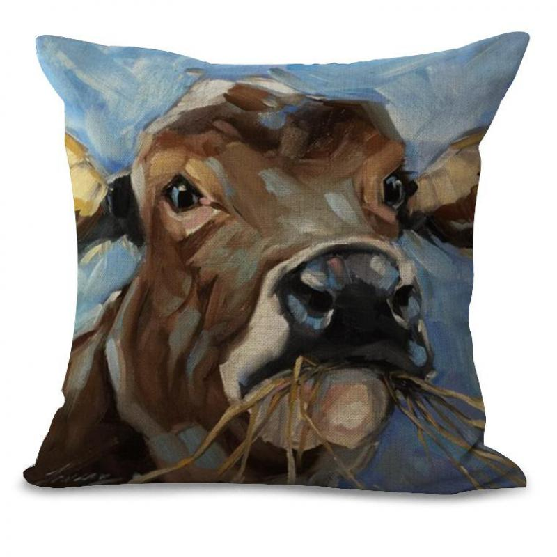 Retro Ngau Tau Printing Cotton Linen Kids Throw Pillow Home Bedside Chair Backrest Cushion Factory Direct Sales