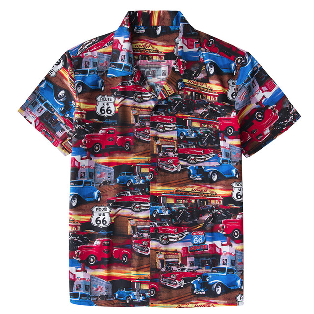 a32fec92 Men's Beach Hawaiian Shirt Tropical Summer Classic 50s Cars Route 66 print  Blouse Casual Loose Cotton Button Down Shirts -in Casual Shirts from Men's  ...
