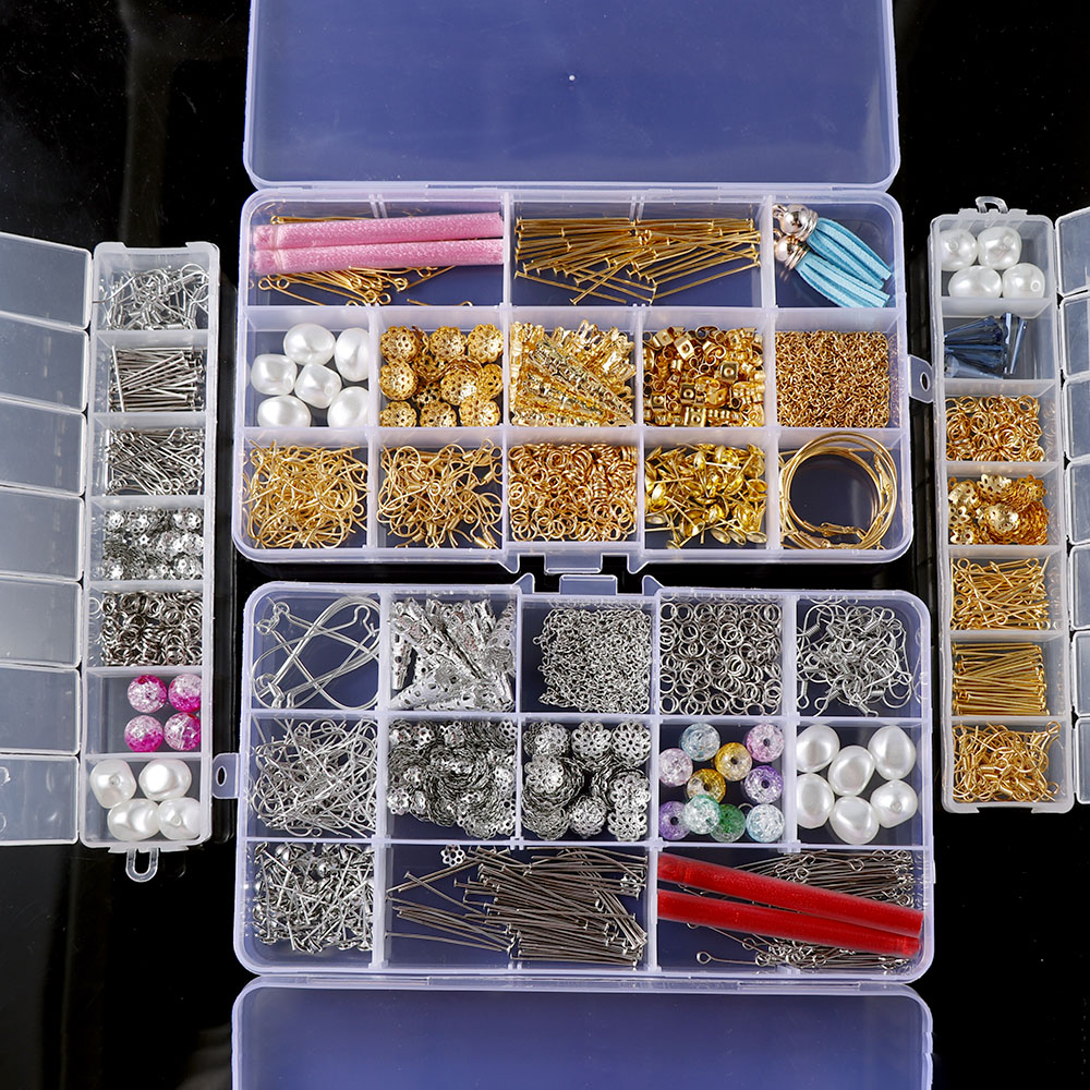 Mixed Style DIY Earring Findings Material Beads Cup Earring Hook  Jump Ring Hook Pin  Box Sets For Jewelry Making Findings