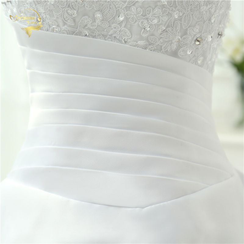 Classic Style Vestidos De Noiva A Line Robe De Mariage Strapless Applique Bridal Gown Wedding Dress 2018 Chapel Train YN0120 9