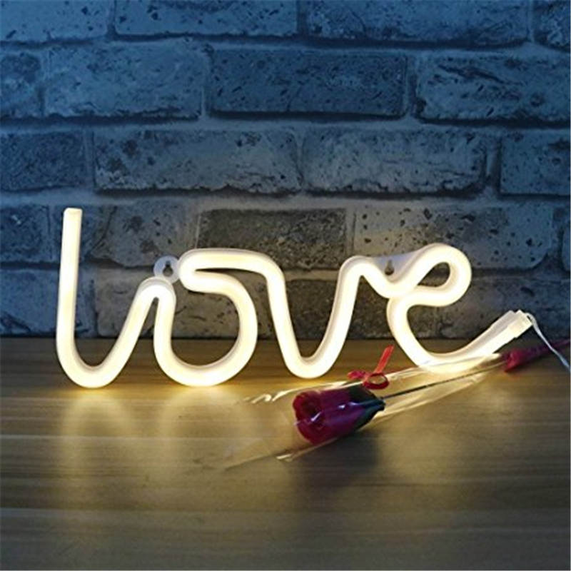 Mising DIY Creative Love Sign Shaped LED Neon String Light Battery USB 2 Modes Powered Fairy Lamp for Home Outdoor Decoration
