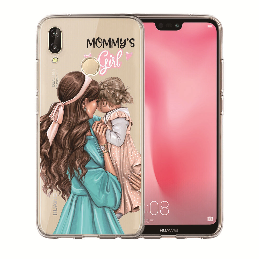 Brown Hair Princess Mom Baby Girl Queen Phone Case Etui For Huawei Honor 10 Lite 10 9 8 7A 7C 5.7 5.99 7X 7 6A P30 Pro Etui Capa
