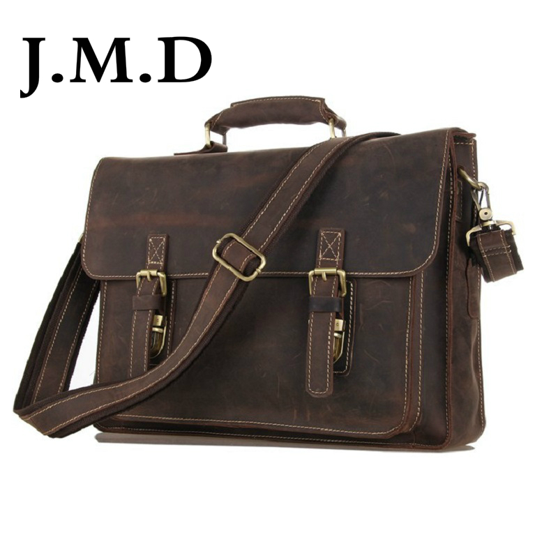 J.M.D Crazy Horse Leather Men's Brown Shoulder Messenger Bag Cross Body Bag Briefcases Handbags 7205