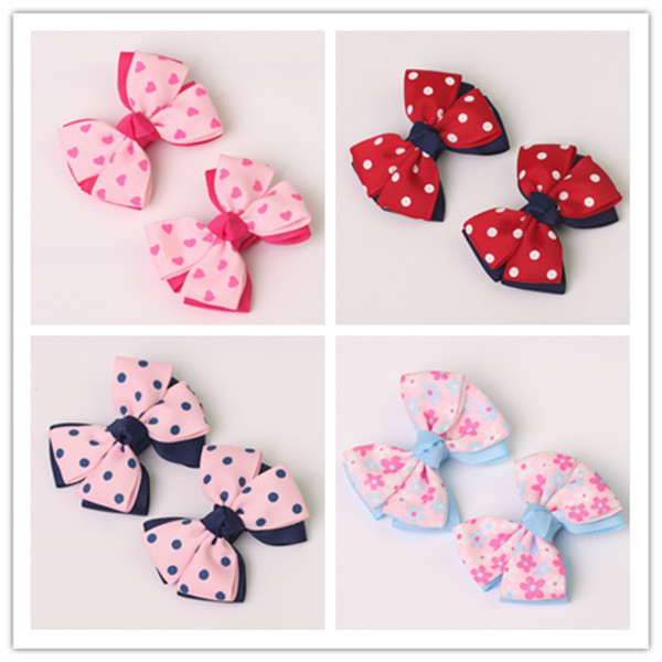 2pc boutique barrettes for children baby  hair ribbon bows clips for girls hairpins double clip accessories headdress Hairgrips new women girls dot hair accessories candy color double ball hairpins cute baby kids hair clip ribbon dot barrettes
