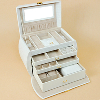 Free Shipping 1PC Ring Necklaces Pendants Gift Jewelry Boxes Cases Display Leather Gift Box28 5x16x19cm White