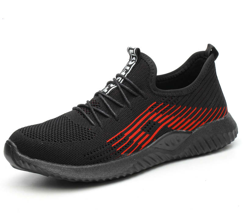 Image 2 - Flyknit Breathable Steel Toe Cap Work Safety Shoes Outdoor Men Anti slip Deodorant Steel Puncture Proof Construction-in Safety Shoe Boots from Security & Protection