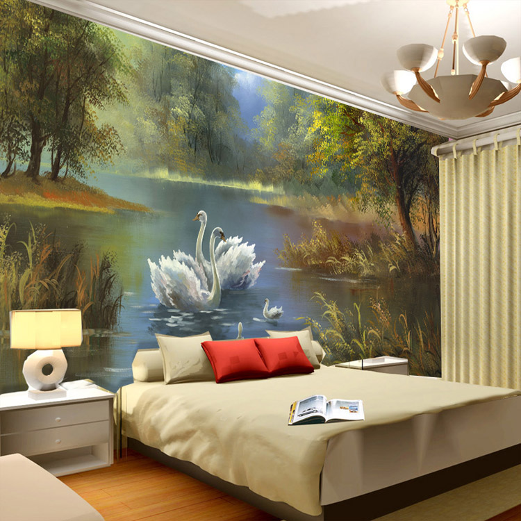 Buy elegant swan lake wallpaper 3d photo for Bedroom mural painting
