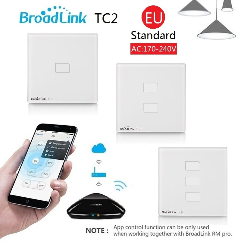 Broadlink TC2 1Gang 2Gang 3 Gang Touch Switch EU Standard,Smart Home Automation,Wireless Wifi Control Lights Wall Switch RF433 broadlink eu standard tc2 1 gang wireless control light switch crystal glass panel touch wall switch light switch for smart home