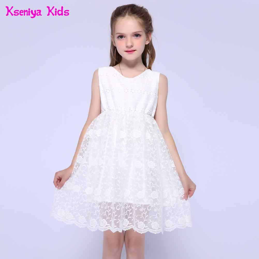 7ce46cdf86746 Kseniya Kids Summer White Flower Girl Princess Dresses For Party And  Wedding Communion Gown White Graduation Dresses For Kids