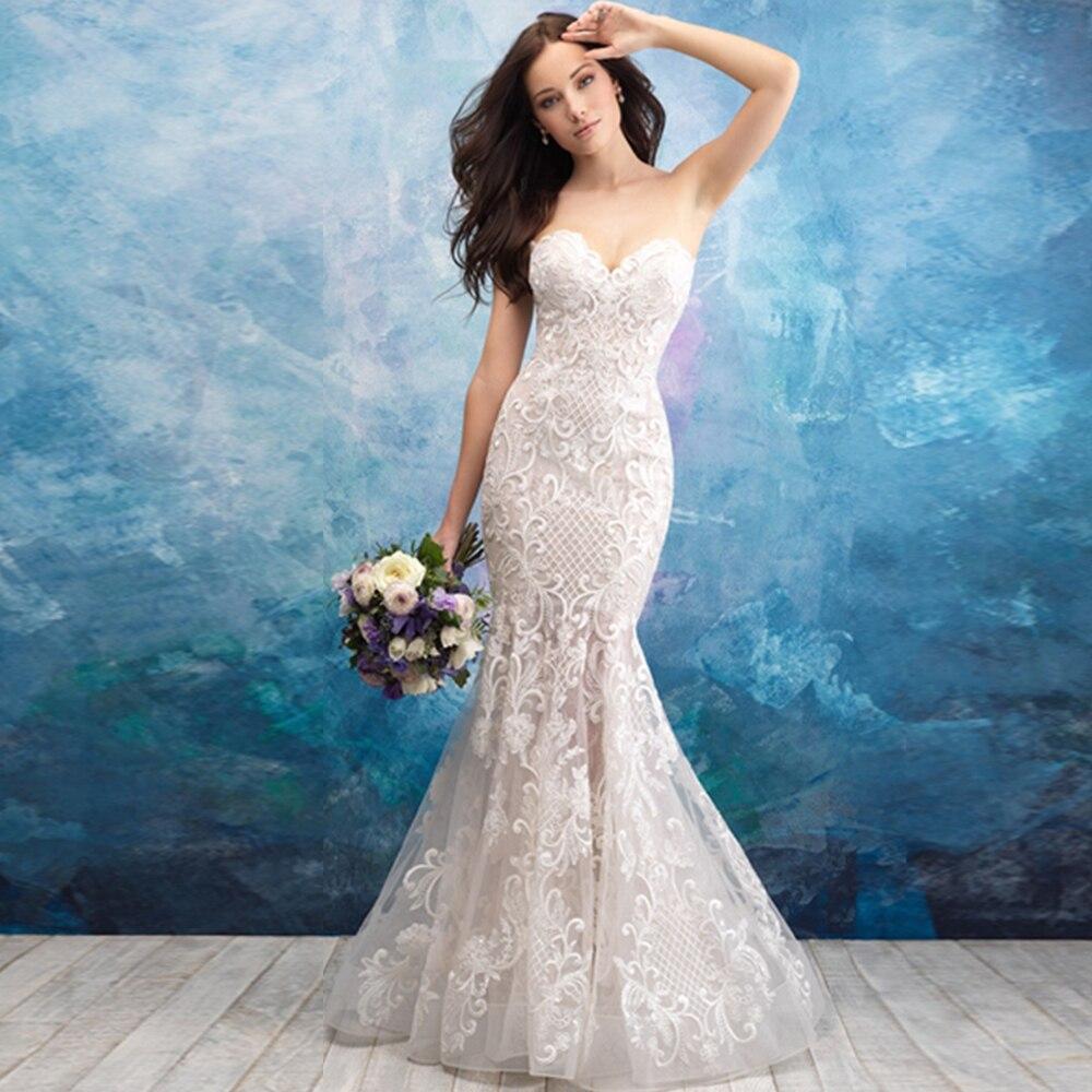 bdd702f781d Vestido Noiva Sereia 2019 Новинка Платье с открытой спиной Аппликация  кружевная «русалка» свадебное платье