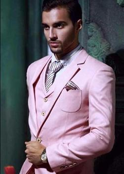 Custom made High Quality Black/Red/White Pink Grooms Tuxedos Slim Fit Men Suits For Wedding Notched Lapel(Jacket+Pants+Vest+Tie)
