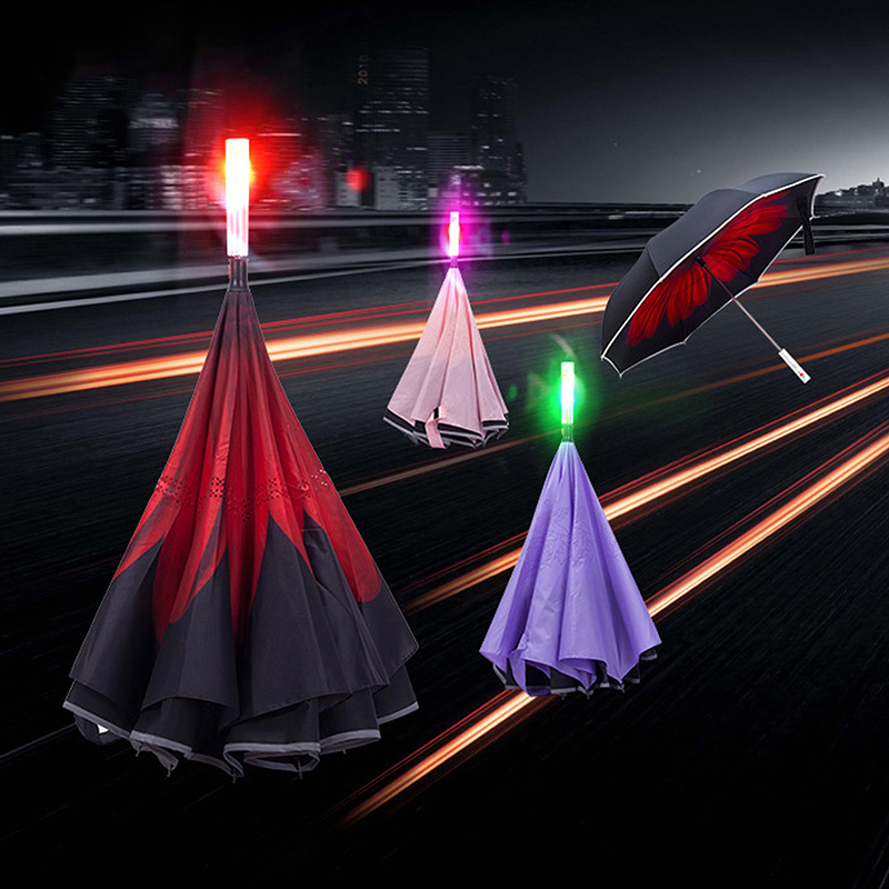 5-couleur led Lightsaber éclairage parapluie épée laser lampe inversé portable pliant super parapluie imperméable livraison gratuite vente