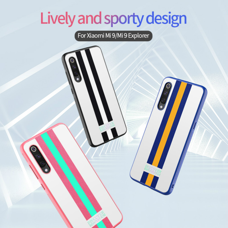 NILLKIN Striped Fashion Tide Sporty Case For Xiaomi 9/Mi 9 Explorer/Mi 9 SE /Mi9 Transparent Flexible TPU Frame & PC Back Cover