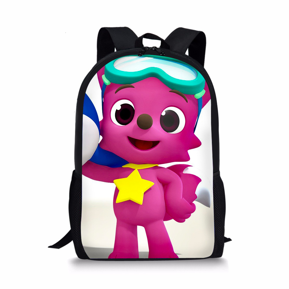 THIKIN Cartoon Pinkfong Design Cute Backpack For Girls Boys Bookbag Teenagers Cool Schoolbag Children Mochila Custom 3D Print