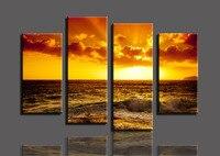 Free shopping Golden sea 4 Панелей/Комплект HD Печать Холст Живопись Картины, горячие продаем современные декоративной живописи Гостиной