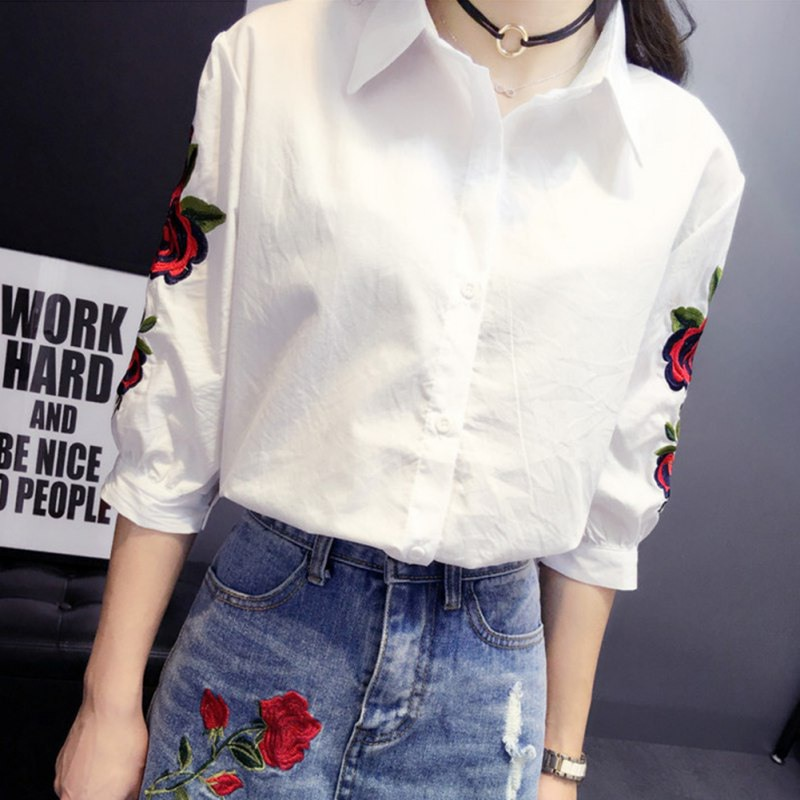 Ladies Floral Embroidery Women's Tops Fashion Blouses Long Sleeve Top Shirt Women Camisas Femininas Women Top Shirts