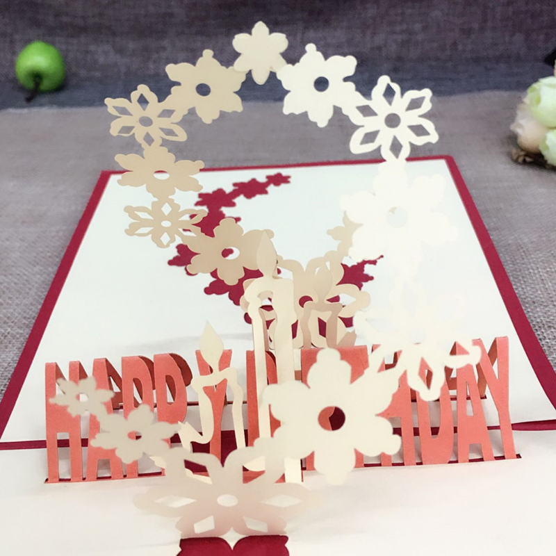 1pcs Sample Fireworks Laser Cut 3D Handmade Pop Up Greeting Cards Postcard Kraft Kirigami Free Envelope Birthday Supplies Gifts (3)