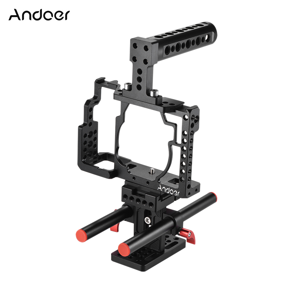 Andoer Aluminum Alloy Camera Cage Top Handle Rod Baseplate Kit Video Making Stabilizer System for Sony