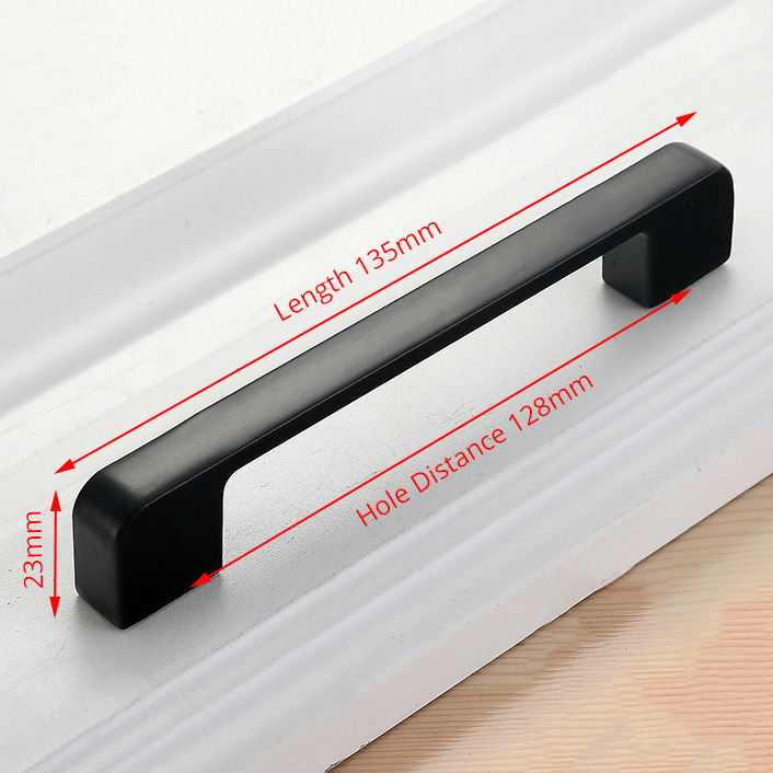 NAIERDI черные ручки шкафа американский стиль твердый алюминиевый сплав кухонный шкаф ручки для выдвижных ящиков оборудование для обработки мебели - Цвет: Handle-818C-128B