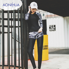 Aonihua Tight Two Piece Swimsuit Female Separate Long Sleeve For Teens Sport Style Floral Design Swimming Shorts Women