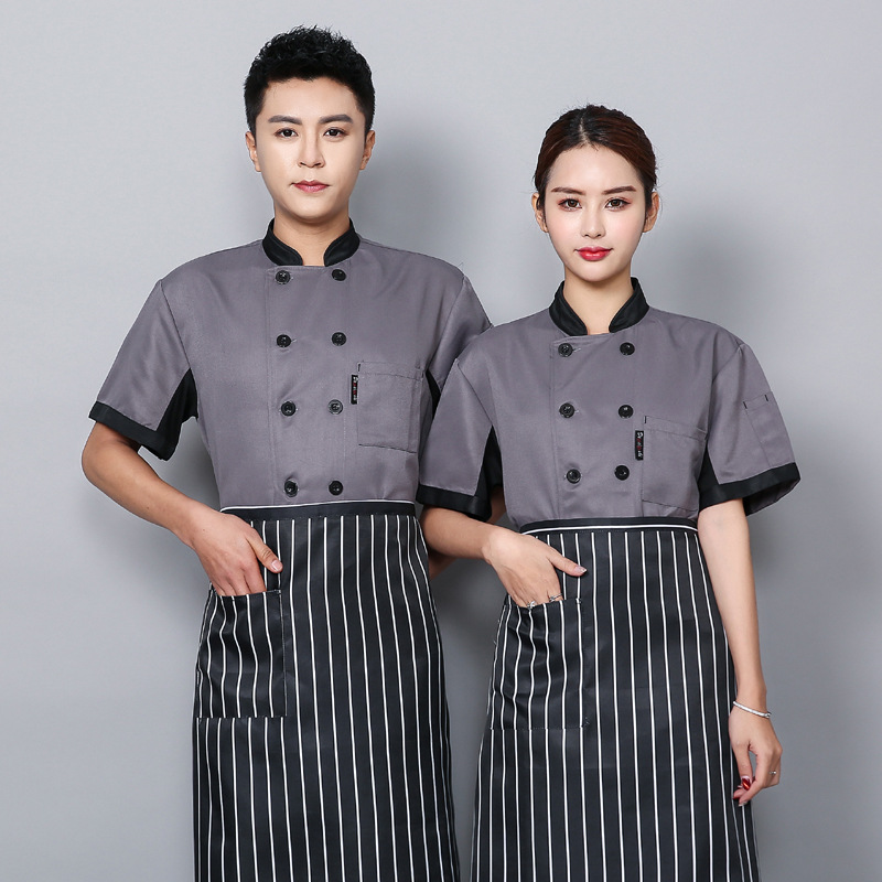 Chef Clothes Short Sleeves Hotel Kitchen Work Clothes Summer Double Row Black Button Chef Uniform Chef Clothes