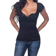 Camiseta Henley con cuello de pico para Mujer, Camisetas Básicas de Manga Corta con botones lisos, Camisetas para Mujer